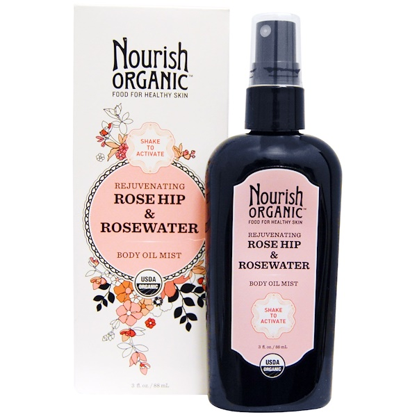 Nourish Organic, Rejuvenating Rose Hip & RoseWater Body Oil Mist, 3 fl oz (88 ml) (Discontinued Item)