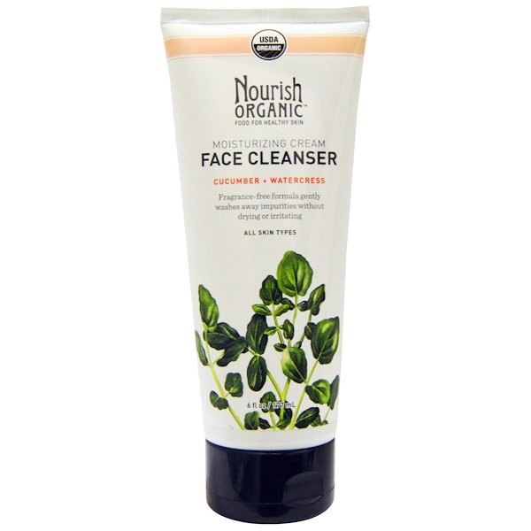 Nourish Organic, Moisturizing Cream Face Cleanser, Cucumber + Watercress, 6 fl oz (177 ml)