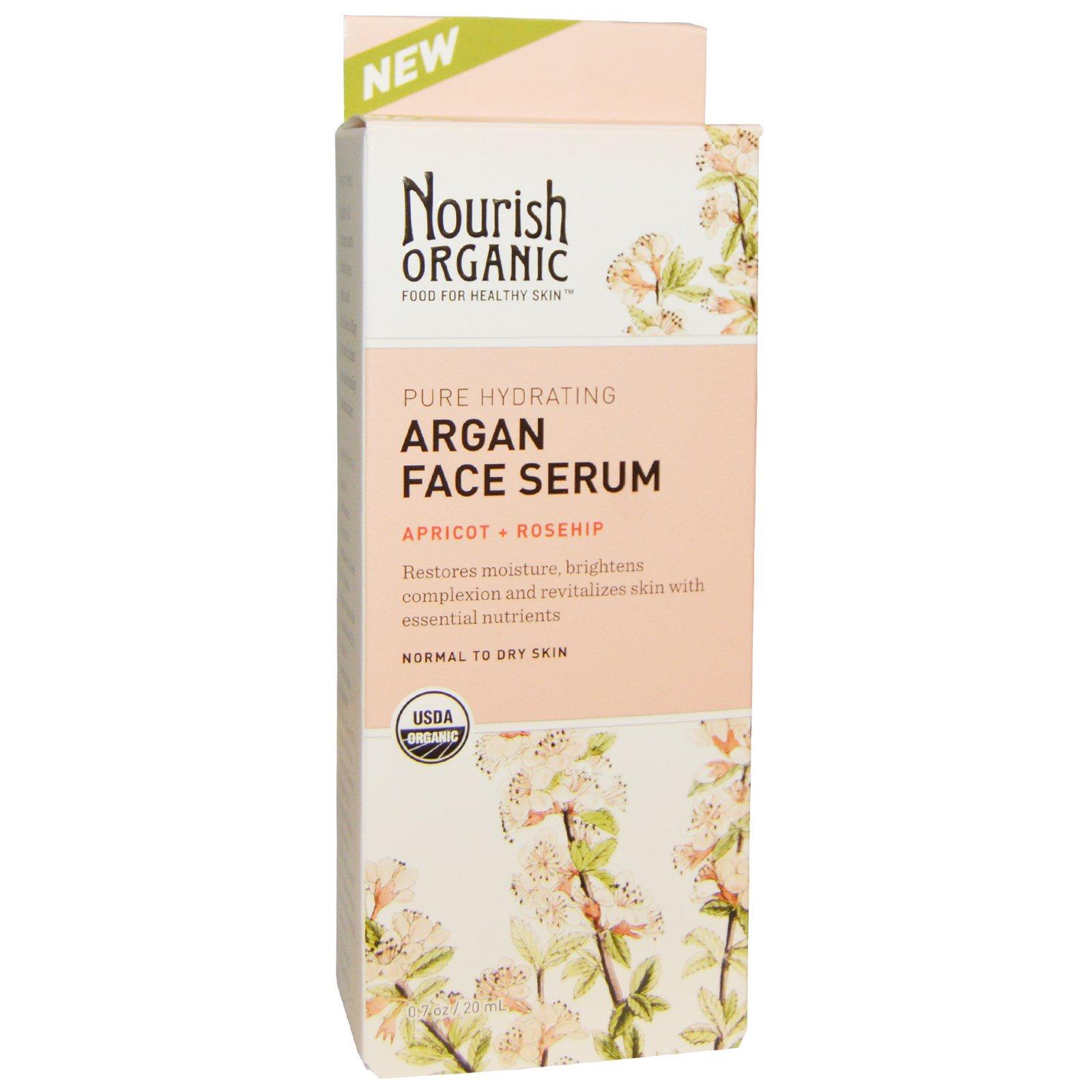 Nourish Organic, Увлажняющая аргановая сыворотка для лица, Абрикос + шиповник, 0,7 унции (20 мл)