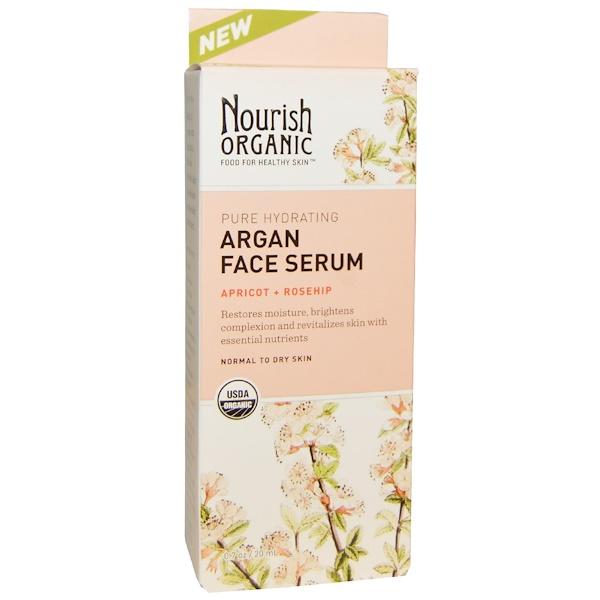 Nourish Organic, Pure Hydrating Argan Face Serum, Apricot + Rosehip, 0.7 oz (20 ml) (Discontinued Item)