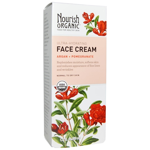 Nourish Organic, Face Cream, Argan + Pomegranate, 1、7 fl oz (50 ml)