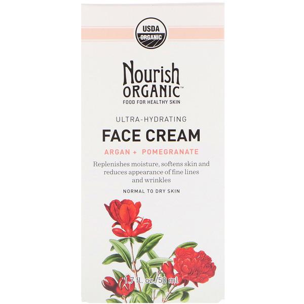 Nourish Organic, Ultra-Hydrating Face Cream, Argan + Pomegranate, 1.7 fl oz (50 ml) (Discontinued Item)