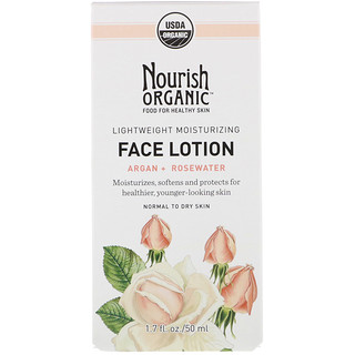 Nourish Organic, لوسيون للوجه مرطب خفيف، أرغان + ماء ورد، 1.7 أونصة سائلة (50 مل)