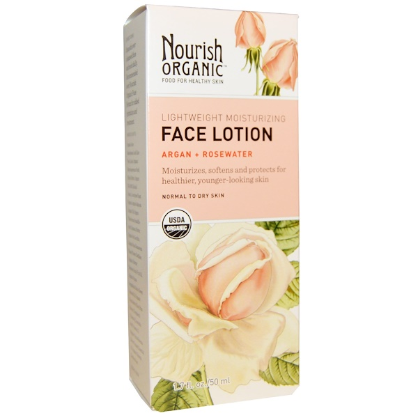 Nourish Organic, Lightweight Moisturizing Face Lotion, Argan + Rosewater, 1、7 fl oz (50 ml)