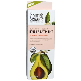 Nourish Organic, Renewing + Cooling Eye Treatment, Avocado + Argan Oil, 0.5 fl oz (15 ml)