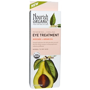 Nourish Organic, Уход для глаз с восстанавливающим и охлаждающим эффектом, авокадо + аргановое масло, 0,5 жидких унций (15 мл) инструкция, применение, состав, противопоказания