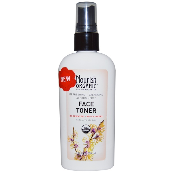 Nourish Organic, Refreshing & Balancing Face Toner Rosewater + Witch Hazel, 3.0 fl oz (88 ml) (Discontinued Item)
