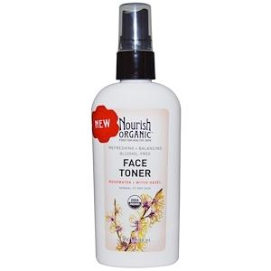 Nourish Organic, Тоник для лица, освежение и баланс, розовая вода и гаммамелис, 3.0 жидких унции (88 мл) инструкция, применение, состав, противопоказания
