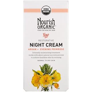 Nourish Organic, Restorative، كريم الليل، يالأرغان + زهرة الربيع المسائية، للجلد العادي إلى الجاف، 1.7 أوقية (50 مل)