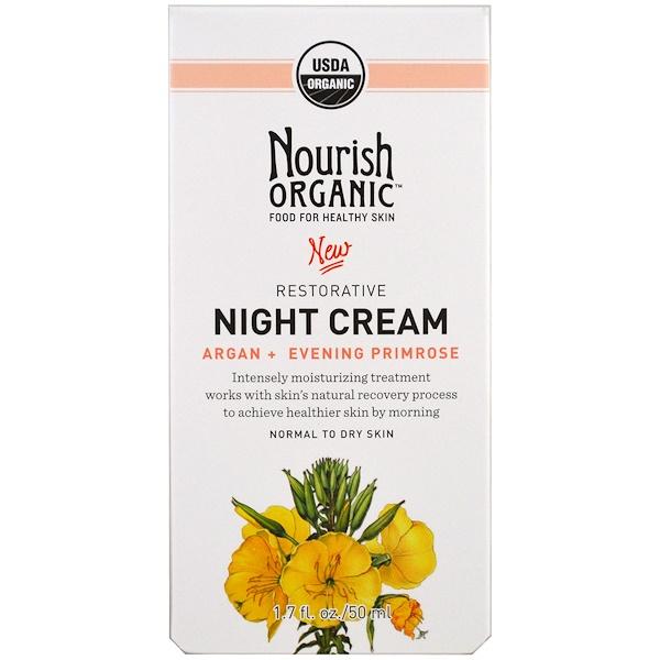 Nourish Organic, Restorative, Night Cream, Argan + Evening Primrose, Normal to Dry Skin, 1.7 oz (50 ml) (Discontinued Item)
