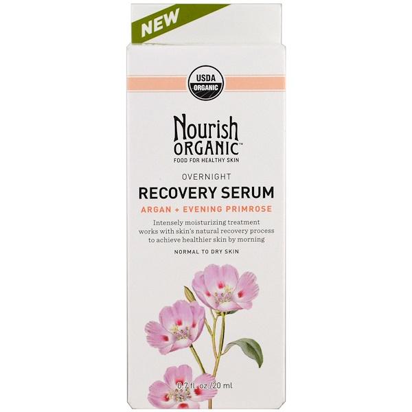 Nourish Organic, Overnight, Recovery Serum, Argan + Evening Primrose, 0.7 oz (20 ml) (Discontinued Item)