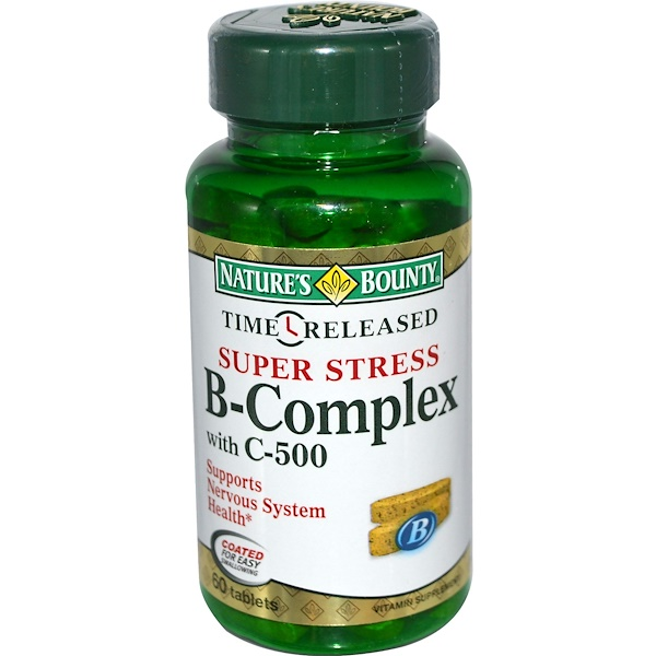 Nature's Bounty, Super Stress B-Complex with C-500, 60 Tablets (Discontinued Item)