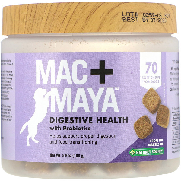 Mac + Maya, Digestive Health with Probiotics, For Dogs, 70 Soft Chews