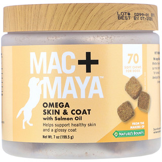 Nature's Bounty, Mac + Maya, Omega Skin & Coat with Salmon Oil, For Dogs, 70 Soft Chews