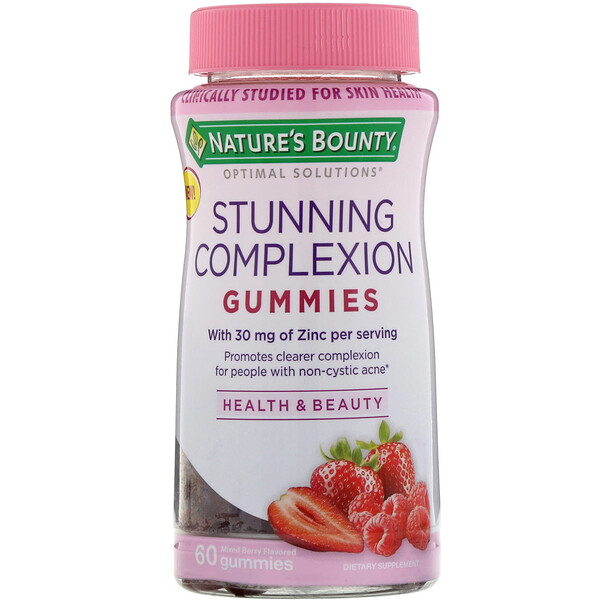 Nature's Bounty, Optimal Solutions, Stunning Complexion, Mixed Berry Flavored, 60 Gummies