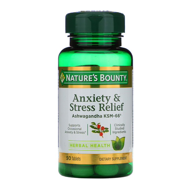 Anxiety & Stress Relief, Ashwagandha KSM-66, 50 Tablets