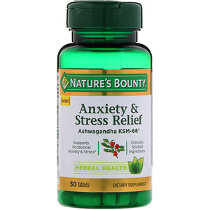 Nature's Bounty, Anxiety & Stress Relief, Ashwagandha KSM-66, 50 Tablets'
