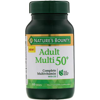 Nature's Bounty, Adult Multi 50+, Complete Multivitamin with D3, 80 Tablets