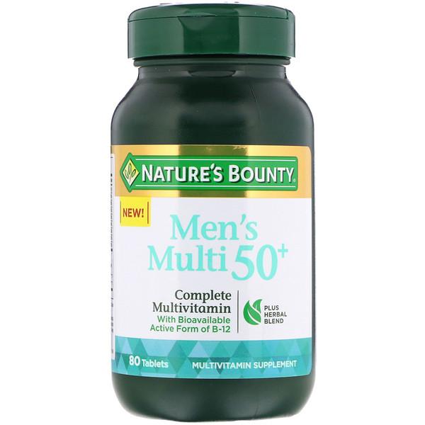 Nature's Bounty, فيتامينات متعددة للرجال بعمر فوق الـ 50 سنة، فيتامينات متعددة كاملة، 80 قرص