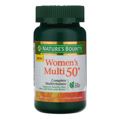 Купить Nature's Bounty Мультивитамин для женщин от 50 лет, полный комплекс мультивитаминов, 80 таблеток