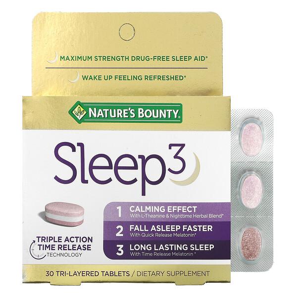 Sleep 3, Maximum Strength, Drug-Free Sleep Aid, 30 Tri-Layered Tablets