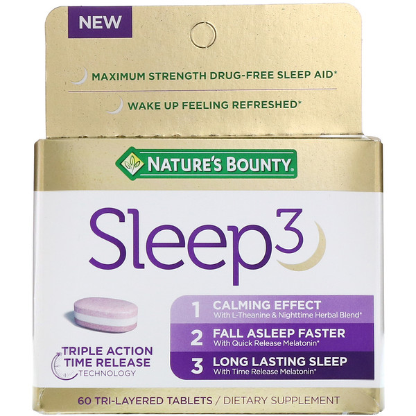 Nature's Bounty, Sleep3, 60 Tri-Layered Tablets