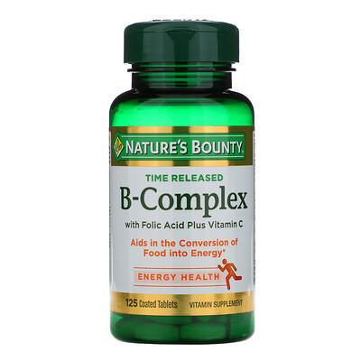 Nature's Bounty Комплекс витаминов B, Time Released, 125 таблеток в оболочке  - купить со скидкой