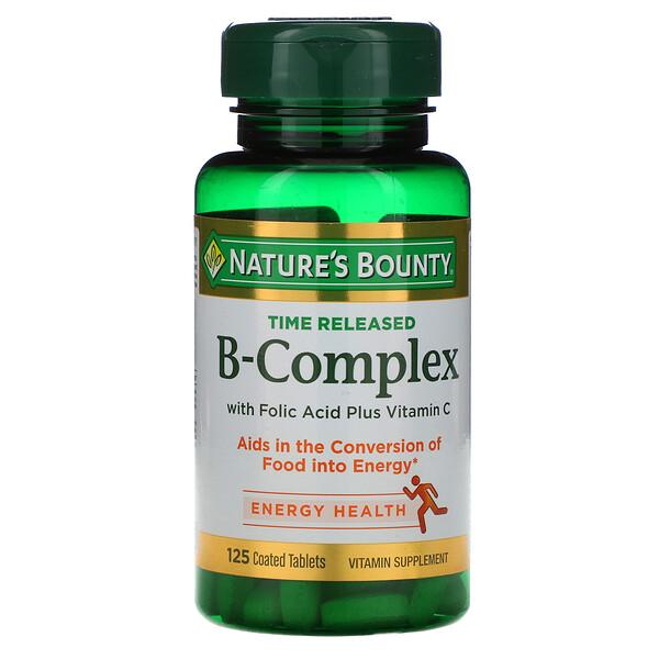 Nature's Bounty, B-Complex, Liberação Prolongada, 125 Comprimidos Revestidos