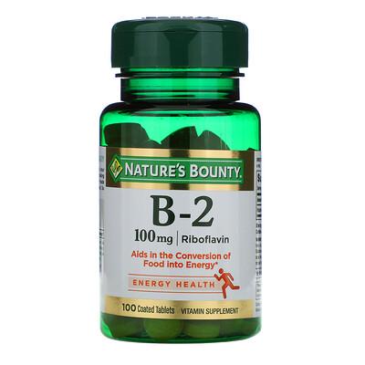 Купить Nature's Bounty ВитаминB-2, 100мг, 100таблеток, покрытых оболочкой