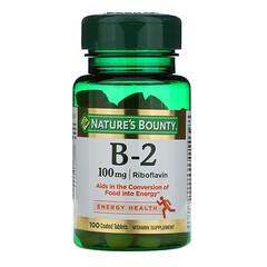 Nature's Bounty, 維生素B-2,100毫克,100片包衣片劑