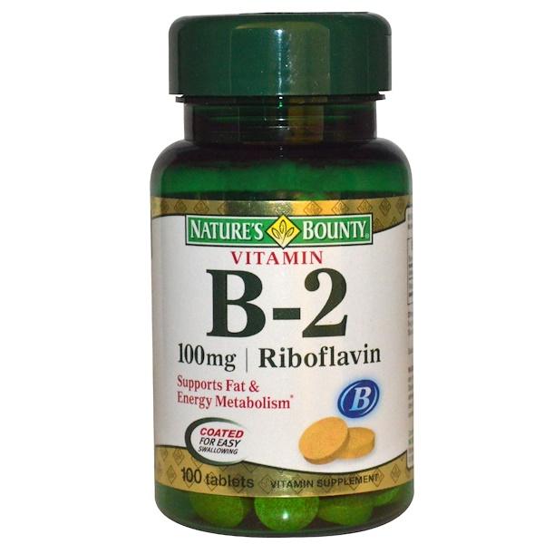Nature's Bounty, Витамин B-2, 100 таблеток