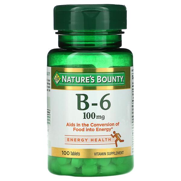 Vitamin B-6, 100 mg, 100 Tablets