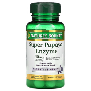 Nature's Bounty, Super Papaya Enzyme, Mint, 15 mg, 90 Chewable Tablets
