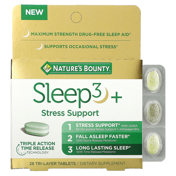Nature's Bounty, Sleep3+, Stress Support, 28 Tri-Layer Tablets