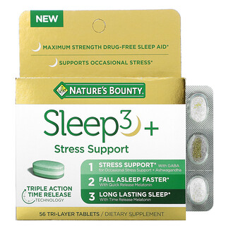Nature's Bounty, Sleep3+, Stress Support, 56 Tri-Layer Tablets