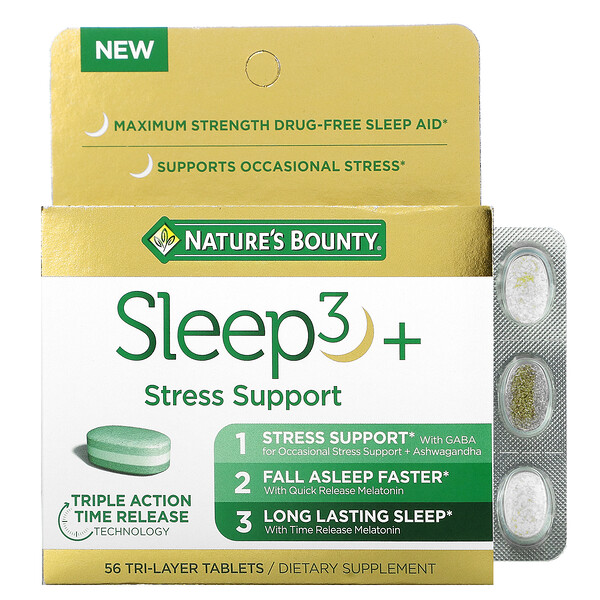 Sleep3+, Stress Support, 56 Tri-Layer Tablets
