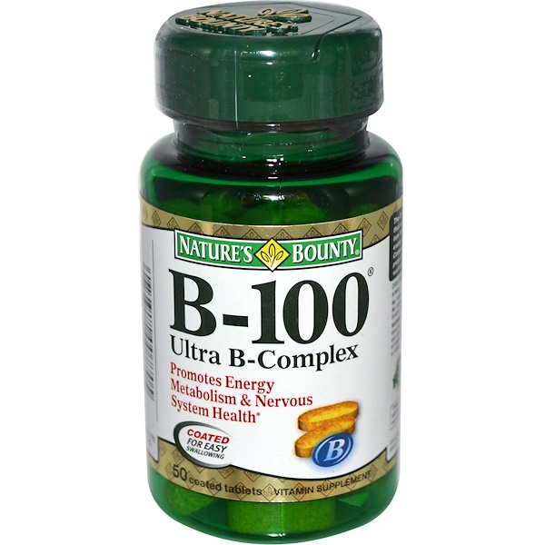 Nature's Bounty, B-100 Ultra B-Complex, 50 Coated Tablets (Discontinued Item)