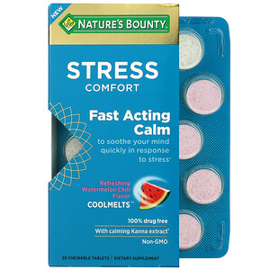 Nature's Bounty, Stress Comfort Coolmelts, Fast Acting Calm, Refreshing Watermelon Chill, 20 Chewable Tablets