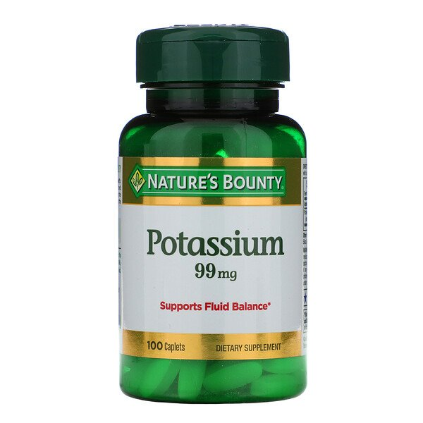 Nature's Bounty, Potássio, 99 mg, 100 Cápsulas