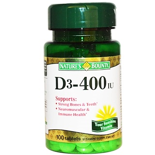Nature's Bounty, D3, 400 IU, 100 Tablets