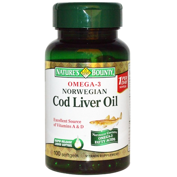 Nature's Bounty, Norwegian Cod Liver Oil, 100 Softgels (Discontinued Item)