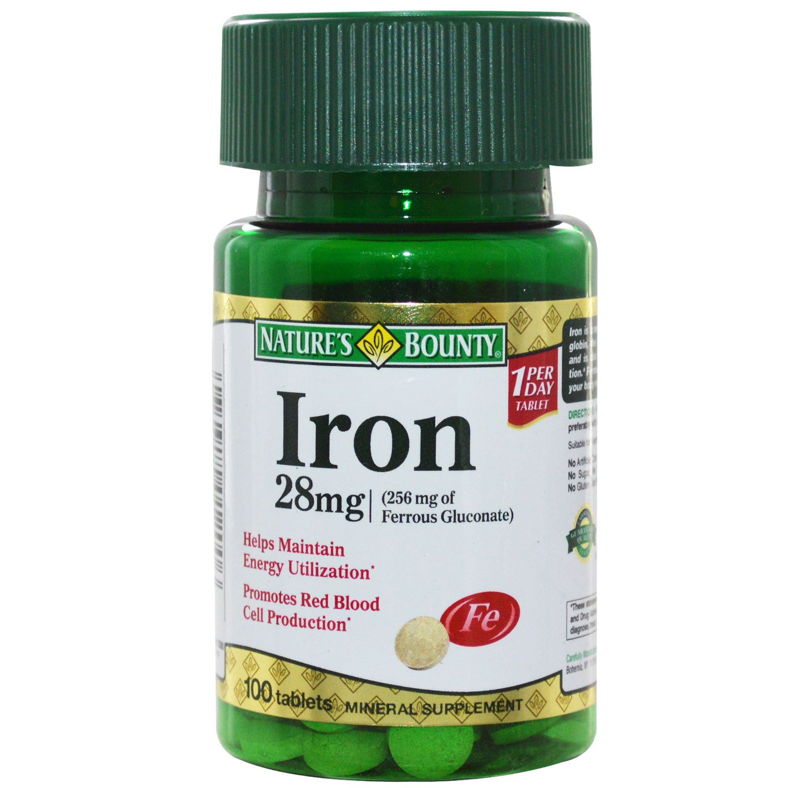 iron mg 28 bounty nature tablets iherb