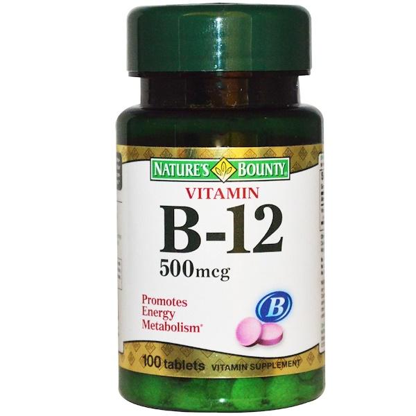 Nature's Bounty, Витамин B-12, 500 мкг, 100 таблеток (Discontinued Item)