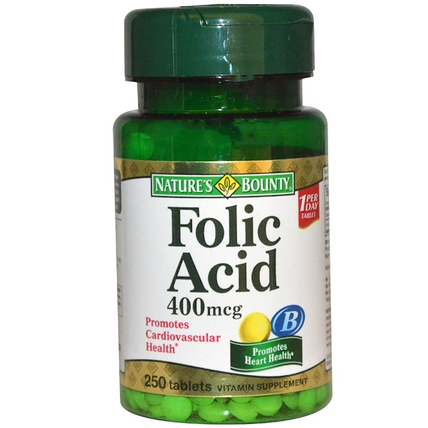 Nature's Bounty, Folic Acid, 400 mcg, 250 Tablets (Discontinued Item)