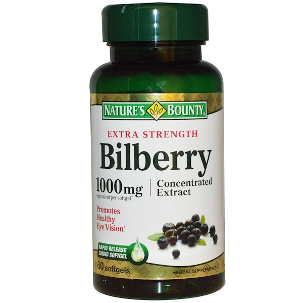 Nature's Bounty, Bilberry, Extra Strength, 1000 mg, 60 Softgels (Discontinued Item)