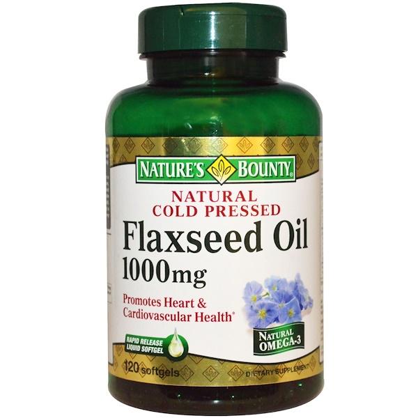 Nature's Bounty, Натуральное масло из семени льна холодного отжима, 1000 мг, 120 гелевых капсул (Discontinued Item)