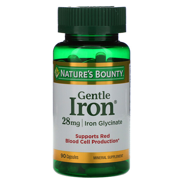 Nature's Bounty, Gentle Iron, 28 mg, 90 Cápsulas