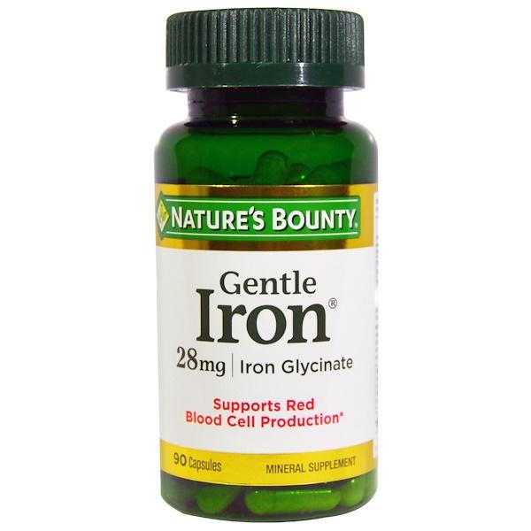 Nature's Bounty, Gentle Iron, 28 mg, 90 Capsules