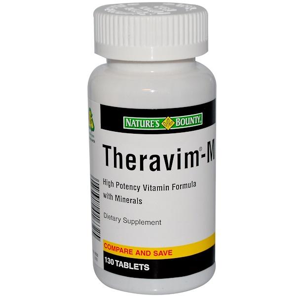 Nature's Bounty, Theravim -M, Витаминная формула с минералами, высокая эффективность 130 таблеток (Discontinued Item)