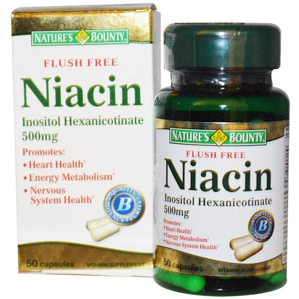 Nature's Bounty, Niacin, Flush Free, 500 mg, 50 Capsules (Discontinued Item)